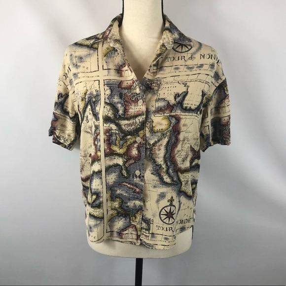 VTG Bill Blass Map Shirt